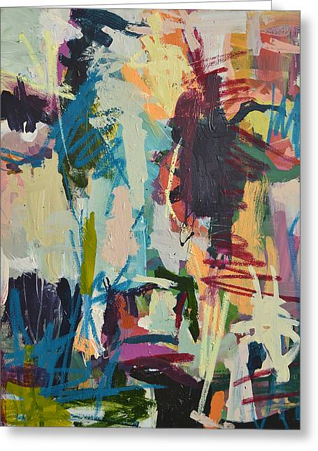 Modern Abstract Cow Painting Greeting Card