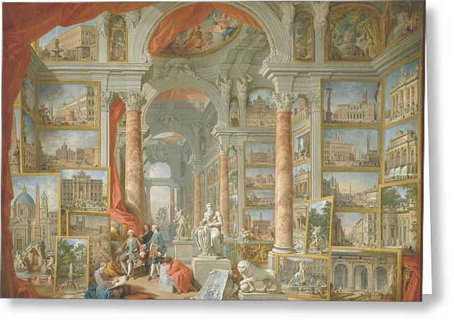 Modern Rome Greeting Card by Giovanni Paolo Panini