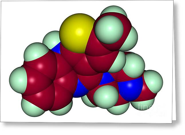 Molecular Model Of Olanzapine Greeting Card