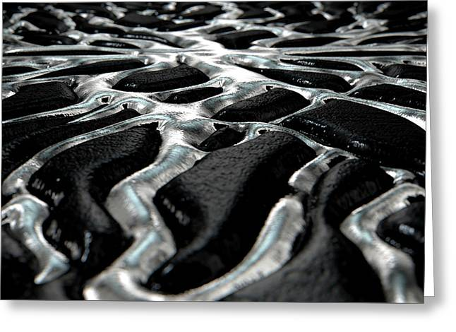 Molten Silver Seeping Out Of Rock Greeting Card