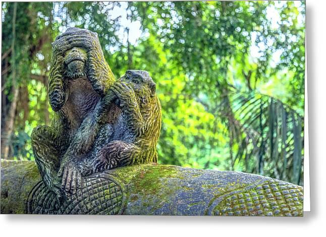Monkey Forest Ubud - Bali Greeting Card by Joana Kruse