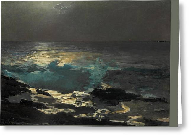 Moonlight, Wood Island Light Greeting Card by Winslow Homer