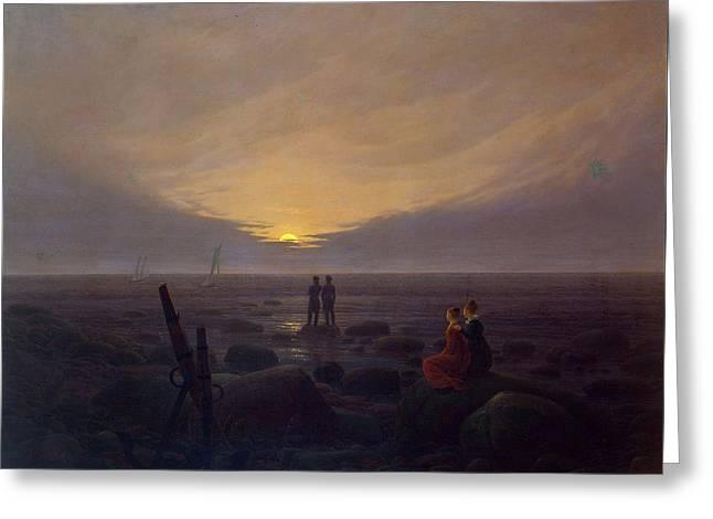 Moonrise Over The Sea Greeting Card by Caspar David Friedrich