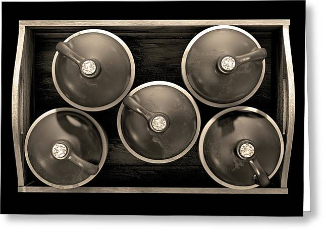 Moonshine In Wooden Crate Greeting Card by Allan Swart