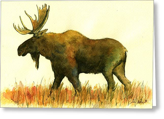 Moose Greeting Card by Juan  Bosco