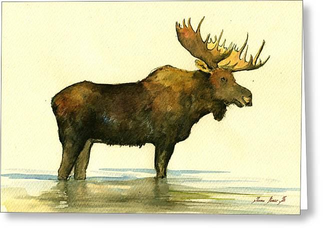 Moose Watercolor Painting. Greeting Card by Juan  Bosco