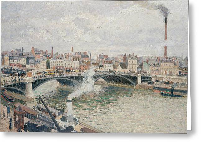 Morning, An Overcast Day, Rouen Greeting Card by Camille Pissarro