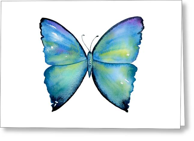 2 Morpho Aega Butterfly Greeting Card by Amy Kirkpatrick