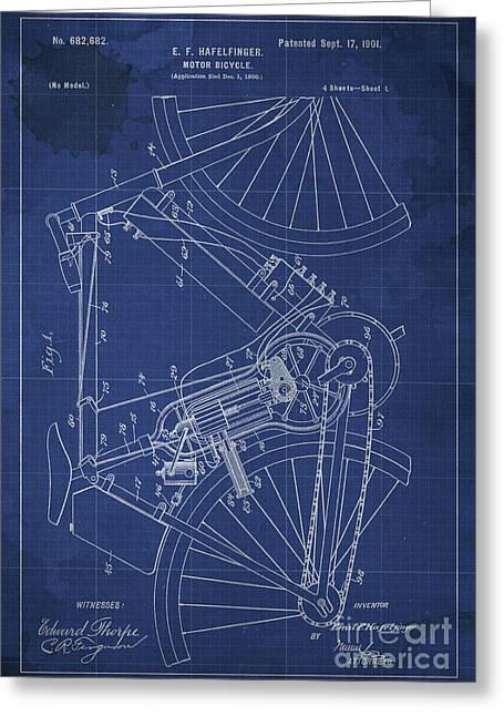 Motor-bicycle Patent Year 1901 Greeting Card