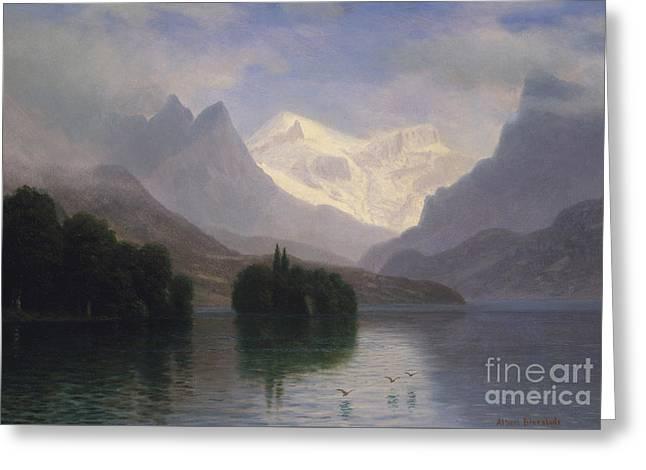 Mountain Scene Greeting Card by Albert Bierstadt