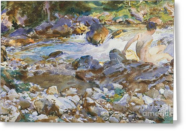Mountain Stream Greeting Card by John Singer Sargent