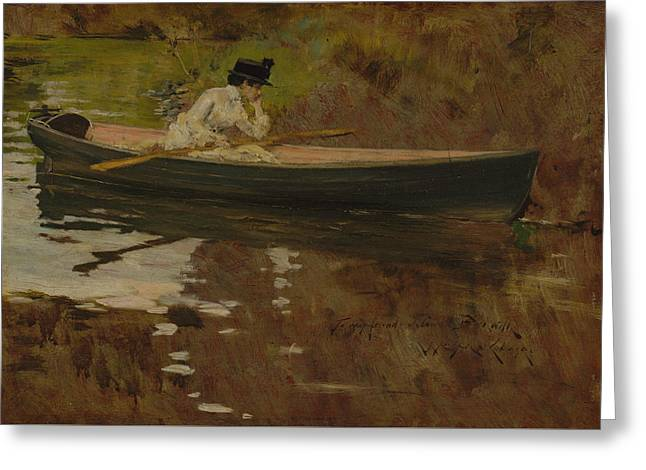 Mrs. Chase In Prospect Park Greeting Card by William Merritt Chase