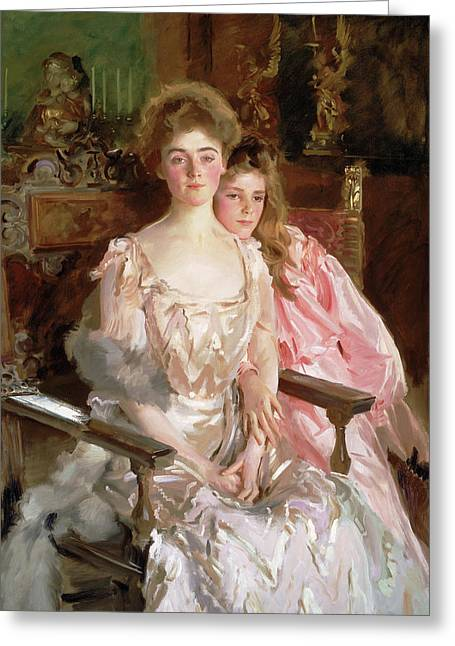Mrs. Fiske Warren And Her Daughter Rachel Greeting Card by John Singer Sargent
