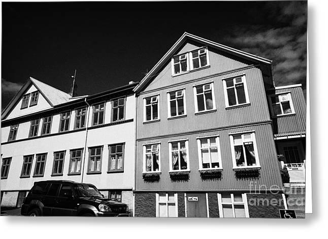 Multi Storey Brightly Painted Corrugated Iron Clad Buildings Reykjavik Iceland Greeting Card