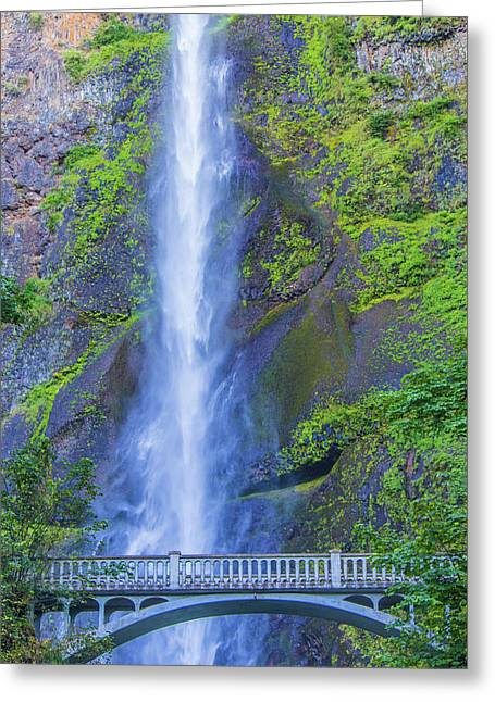 Greeting Card featuring the photograph Multnomah Falls Bridge by Jonny D