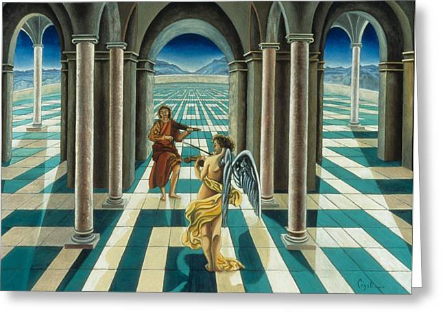 Musicians In The Temple Greeting Card by Gloria Cigolini-DePietro