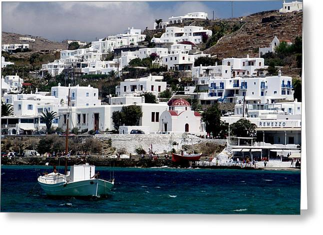 Mykonos Greeting Card by Leena Kewlani