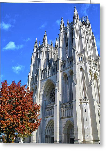 Greeting Card featuring the photograph National Cathedral by Mitch Cat