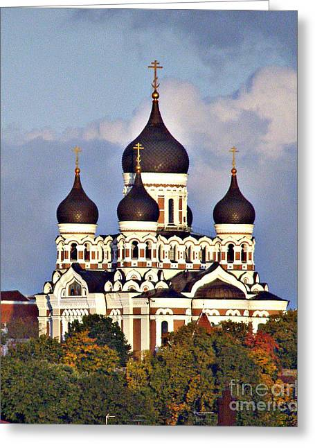 Nevsky Cathedral Estonia Greeting Card by Louise Peardon