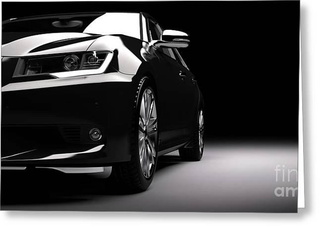 New Black Metallic Sedan Car In Spotlight. Modern Desing, Brandless. Greeting Card by Michal Bednarek