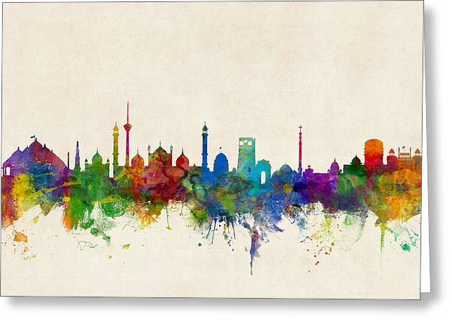 New Delhi India Skyline Greeting Card by Michael Tompsett