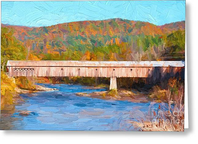 New England Covered Bridge Greeting Card by Garland Johnson