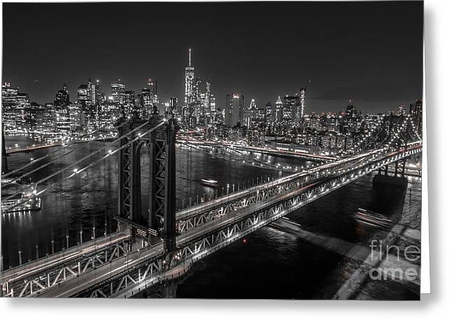 Greeting Card featuring the photograph New York City, Manhattan Bridge At Night by Petr Hejl