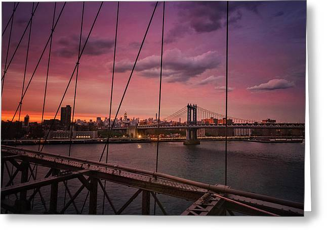 New York City - Sunset Greeting Card by Vivienne Gucwa