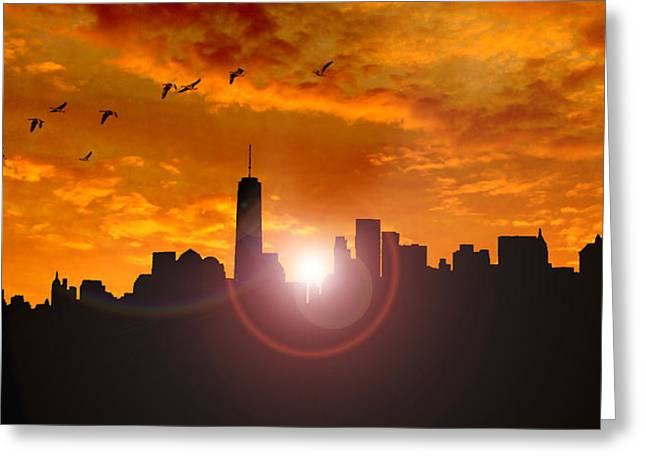 New York Skyline Greeting Card by Martin Newman
