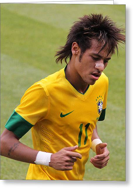 Super Stars Greeting Cards - Neymar Junior Greeting Card by Lee Dos Santos