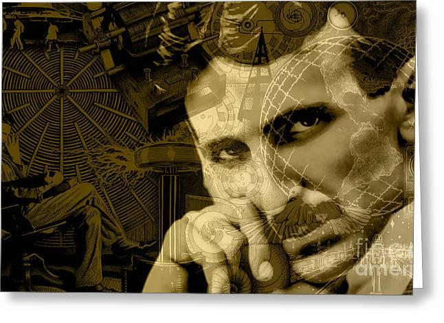 Nikola Tesla Collection Greeting Card by Marvin Blaine