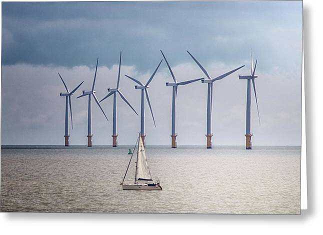 North Sea Wind Farm Greeting Card