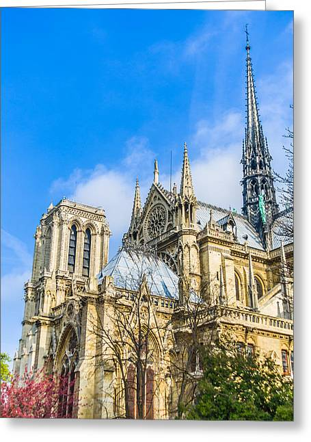 Notre Dame Cathedral - Paris Gothic Cathedral Greeting Card by Nila Newsom