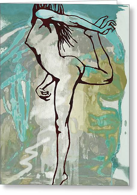 Nude - Pop Art Etching Poster  Greeting Card