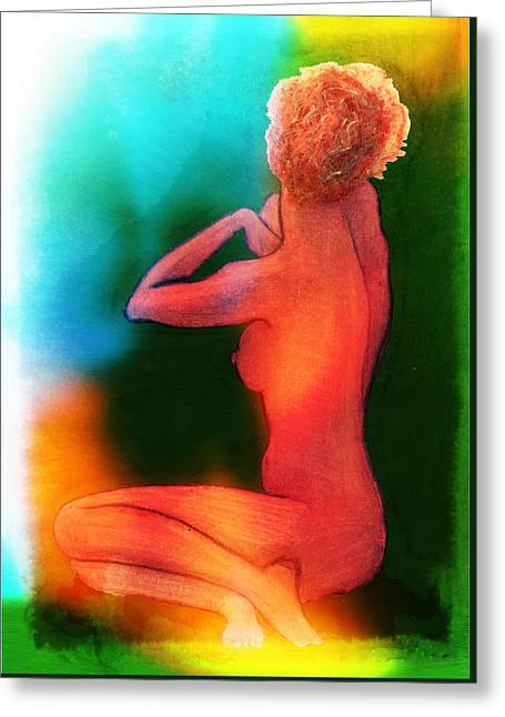 Nude Woman Greeting Card by Svelby Art