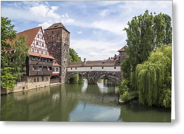 Nuremberg View From Maxbridge To Hangmans Bridge Greeting Card by Melanie Viola