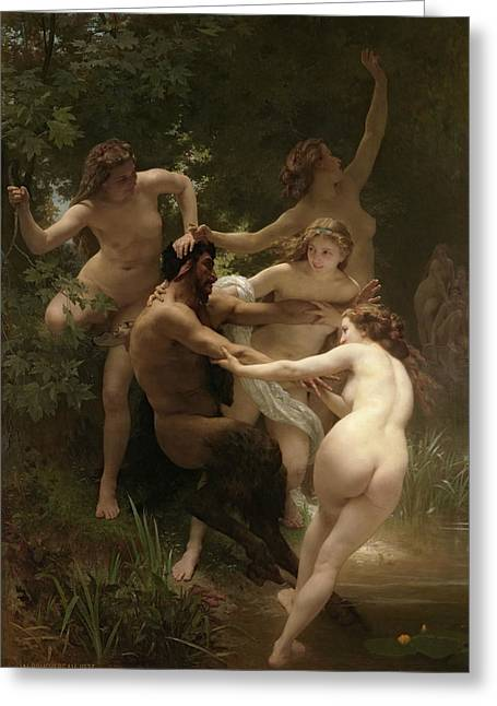 Nymphs And Satyr Greeting Card by William-Adolphe Bouguereau