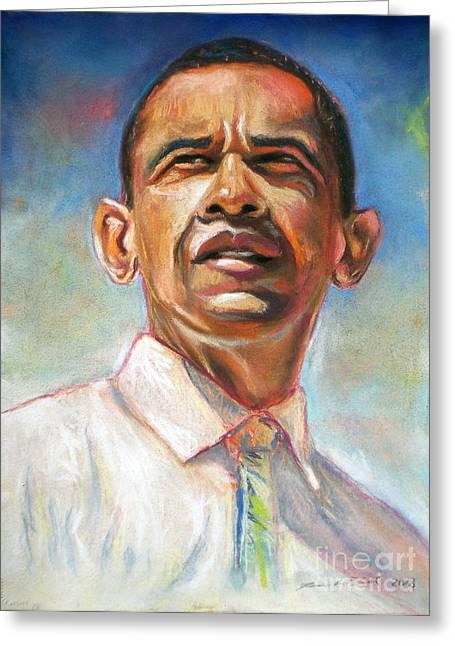 Obama 08 Greeting Card by Dennis Rennock
