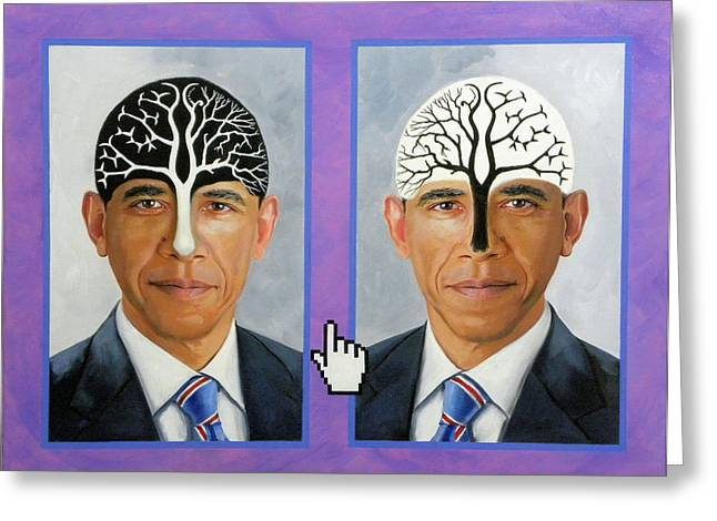 Obama Trees Of Knowledge Greeting Card by Richard Barone