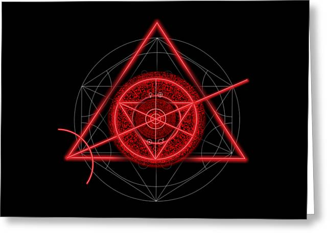 Occult Magick Symbol On Red By Pierre Blanchard Greeting Card by Pierre Blanchard
