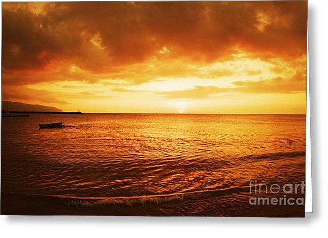 Ocean Sunset Greeting Card by Vince Cavataio - Printscapes