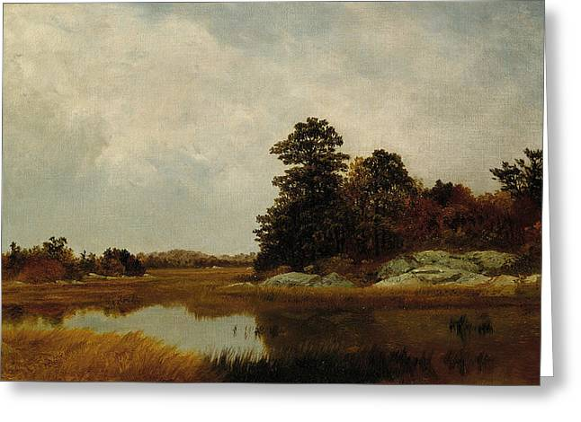 October In The Marshes Greeting Card by John Frederick Kensett