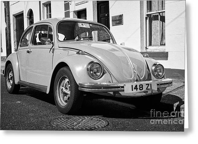 Old Beetle Car Parked On A Traditional Irish Street Sligo Republic Of Ireland Greeting Card by Joe Fox