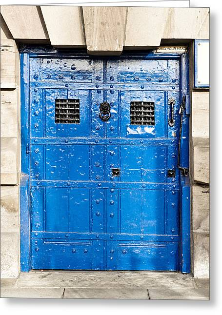 Old Blue Door Greeting Card by Tom Gowanlock
