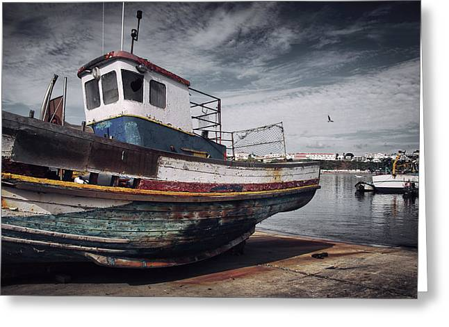Old Fishing Boat Greeting Card by Carlos Caetano