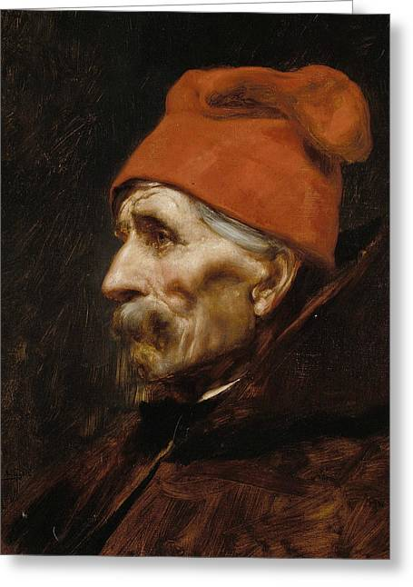 Old Man Wearing A Red Fez Greeting Card