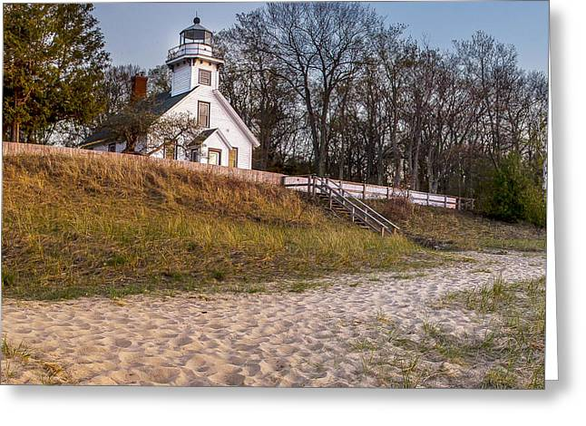 Old Mission Peninsula Lighthouse And Shore Greeting Card