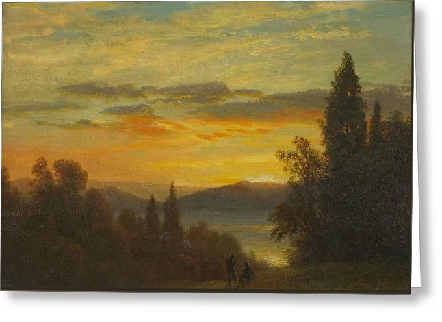 On The Hudson River Near Irvington Greeting Card by Albert Bierstadt