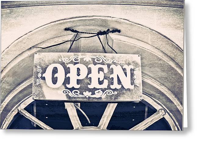 Open Sign Greeting Card by Tom Gowanlock
