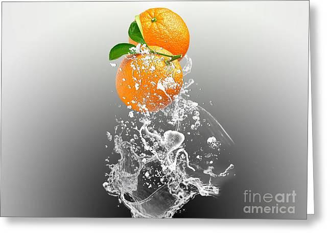 Orange Splash Greeting Card by Marvin Blaine